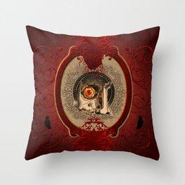 Creepy red eye Throw Pillow
