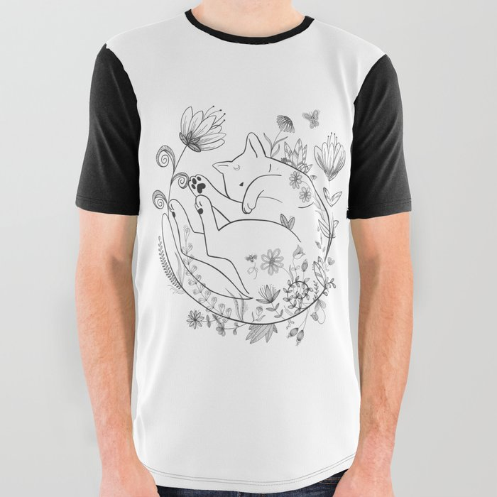 Sleeping Beauty magical black cat in flowers lineart Luna All Over Graphic Tee