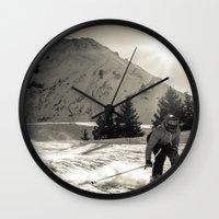 ski Wall Clocks featuring ski by Sébastien BOUVIER