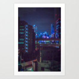 View from Tokyo roof/ blue and purple lights at night / Cyberpunk/Blade runner vibes. Art Print