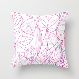 Abstract Modern Pink Hand Painted Leaves Pattern Throw Pillow