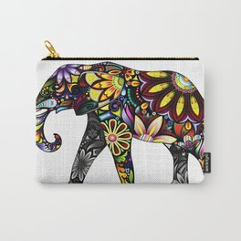 Aztec Elephant White Carry-All Pouch