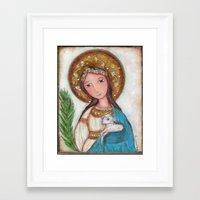 agnes Framed Art Prints featuring Saint Agnes by Flor Larios Art