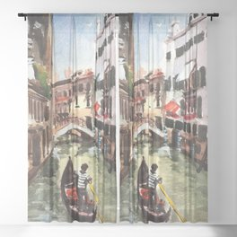 Venice Canal Gondola Italy Sheer Curtain