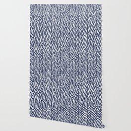 Boho Herringbone Pattern, Navy Blue and White Wallpaper