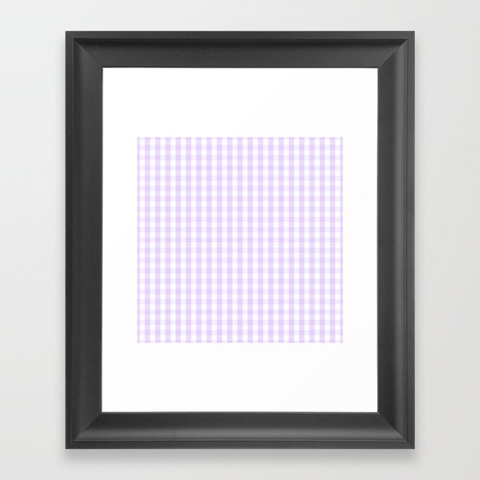 Chalky Pale Lilac Pastel and White Gingham Check Plaid Gerahmter Kunstdruck