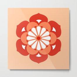 Lotus Flower Mandala, Pastel Orange and Mandarin Metal Print