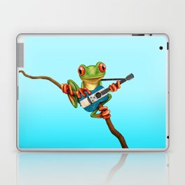 Tree Frog Playing Acoustic Guitar with Flag of Honduras Laptop & iPad Skin
