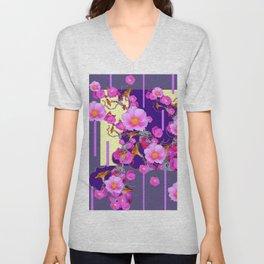 Modern Artwork Pink Wild Roses Purple Grey Design Unisex V-Neck
