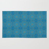 coasters Area & Throw Rugs featuring Gold Lace on Blue by Lena Photo Art