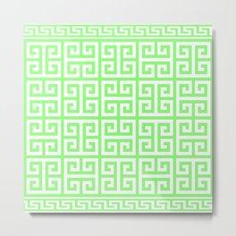 Greek Key (Light Green & White Pattern) Metal Print