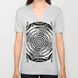 Black and White Party of Circles Unisex V-Neck
