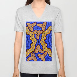 Aboriginal Art Authentic - Emu Dreaming 2 Unisex V-Neck