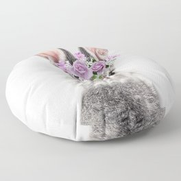 Bunny With Flower Crown Floor Pillow