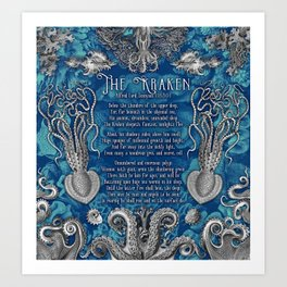The Kraken (Blue) Art Print