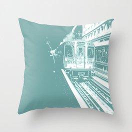 Teal Brown Line Throw Pillow