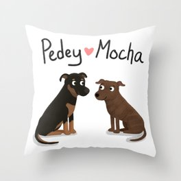 "Custom Artwork ""Pedey and Mocha"" Throw Pillow"