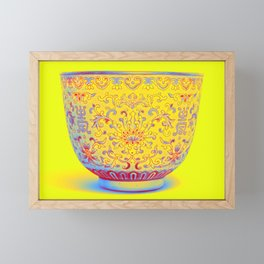 A LIME-GREEN GROUND FAMILLE ROSE CUP Neon art by Ahmet Asar Framed Mini Art Print