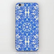 Cobalt Blue & China White Folk Art Pattern iPhone Skin