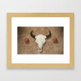 Bison Skull with Rose Rocks Framed Art Print