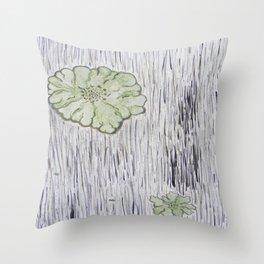 Lichen on Aged Wood Throw Pillow