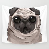 scary Wall Tapestries featuring Scary Pug by Alba Ferrari