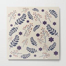 Dark plant pattern Metal Print