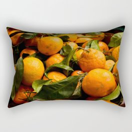 A Photo of Oranges with Green Stems Rectangular Pillow