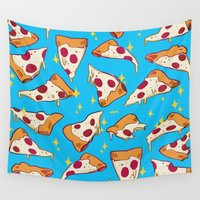 pizza Wall Tapestries featuring pizza by Erin Lowe