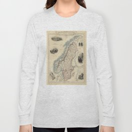 Vintage Map of Norway and Sweden (1851) Long Sleeve T-shirt