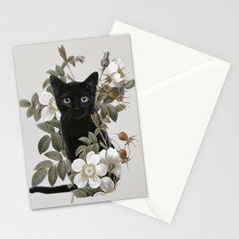 Cat With Flowers Stationery Cards