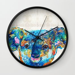 Colorful Koala Bear Art by Sharon Cummings Wall Clock