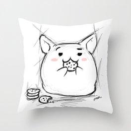 cookie eating Kawaii Throw Pillow