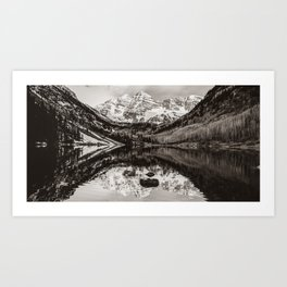 Panoramic Mountain Landscape of the Maroon Bells - Sepia Edition Art Print