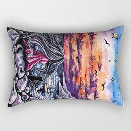 Girl with a black cat at sunset Rectangular Pillow