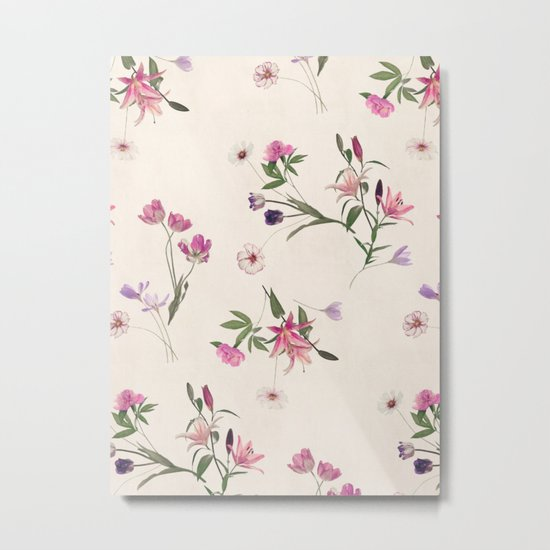 Scattered Floral on Cream Metal Print