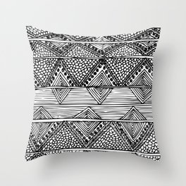 Abstract black and white digitised hand drawing art Throw Pillow