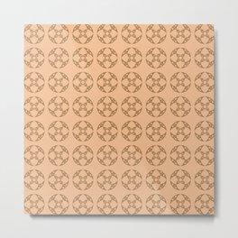 Art Deco Vintage Stylized Flowers Pattern 1 Brown Metal Print