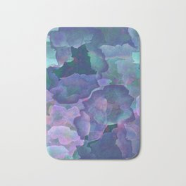 Blue and teal abstract watercolor Bath Mat