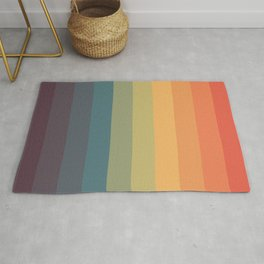 Colorful Retro Striped Rainbow Rug
