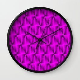 A chaotic grid of raised rhombuses with intersecting pink northern lines and squares. Wall Clock