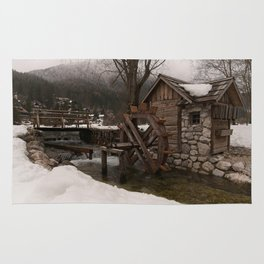 Winter Water Mill At Lake Jasna Rug