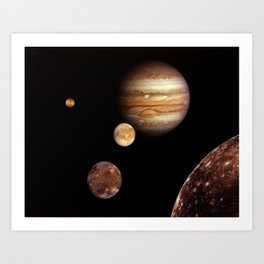 Jupiter and its four planet-size moons, called the Galilean satellites, Art Print