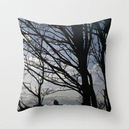 Trees along the River Thames, near Woolwich Throw Pillow