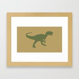 Camouflage Dinosaur Silhouette on a khaki tan background Framed Art Print