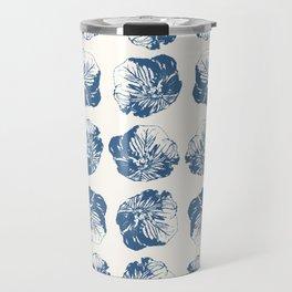 Minimal Patterns - Mexican Primrose Blue Travel Mug