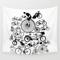 bicycles Wall Tapestries featuring Bicycles by Ewan Arnolda