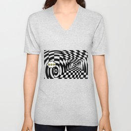 optical visual illusion thinking cloud of black and white chess board tunnel op art  Unisex V-Neck