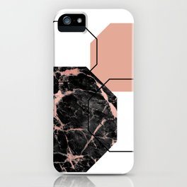 Geometric - Hexagon, Black Marble Rose Gold iPhone Case