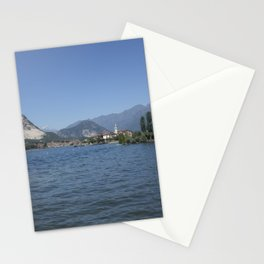 Panoramic view of Fishermen Island on Lake Maggiore, Italy Stationery Cards